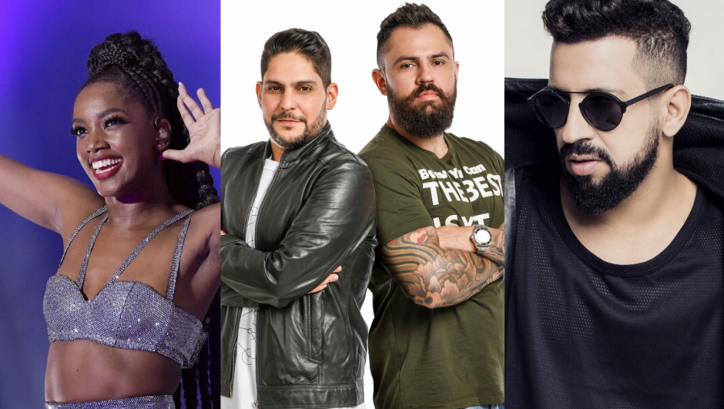Iza, Jorge e Mateus e Dennis DJ são alguns dos artistas que fazem transmissões ao vivo (Imagens Alexandre Durão/G1 - Divulgação - Roberto Schwenck / Arte Agenda Betim)