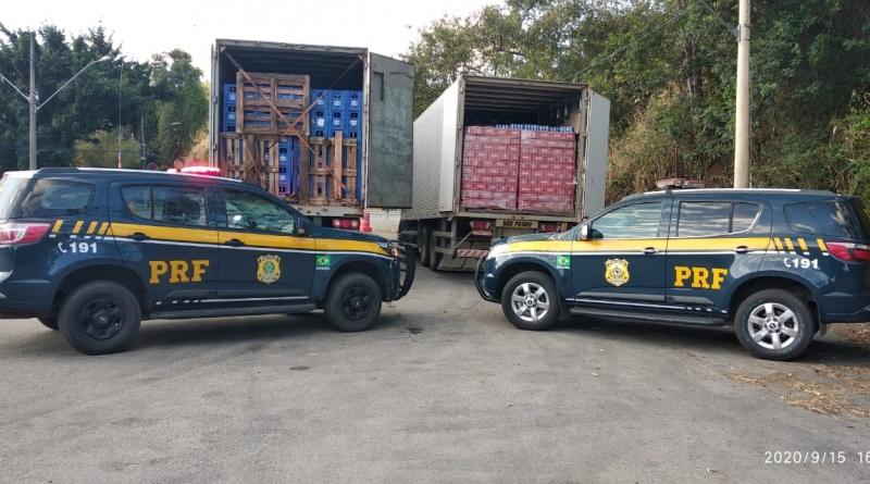 PRF apreende 40 mil litros de cerveja na BR 116 em Teófilo Otoni (Imagem PRF/Divulgação)