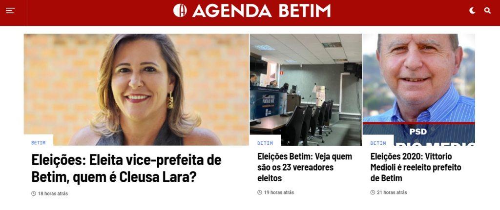 Destaques na home page do Agenda Betim na segunda-feira, 16 de novembro