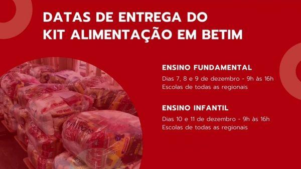 Datas entrega kit alimentação em Betim (Imagem Reprodução Agenda Betim)