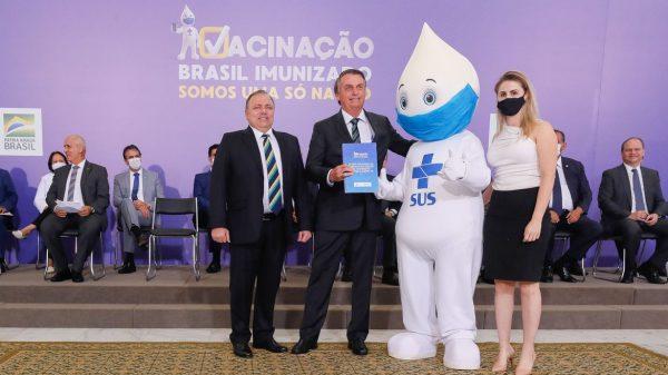 O Presidente Jair Bolsonaro, participa do lançamento do Plano Nacional de Operacionalização da Vacinação Contra a Covid-19 (Imagem Isac Nóbrega/PR/Divulgação)