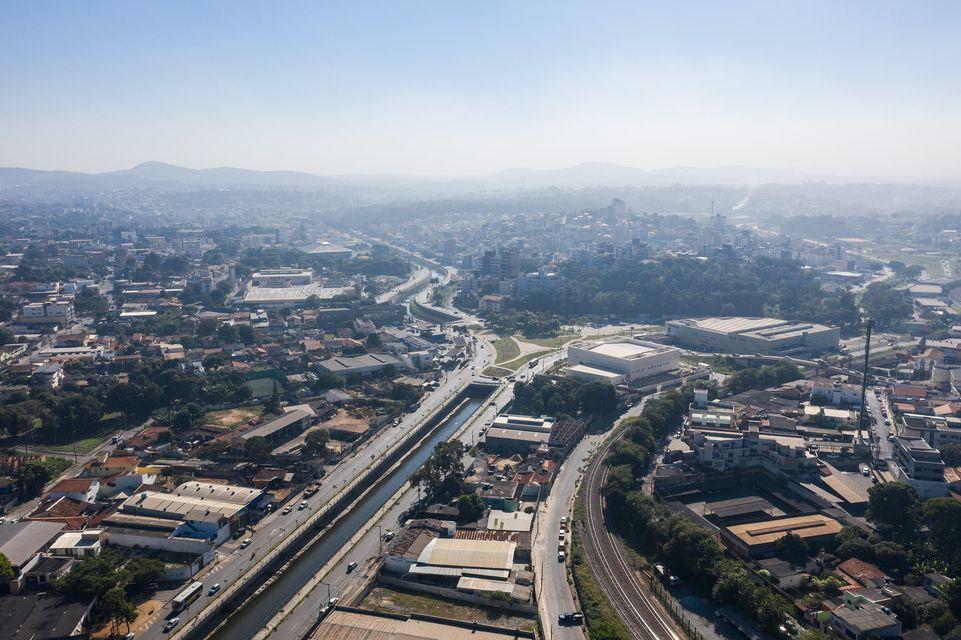 Vista aérea da região central de Betim (Imagem PMB)