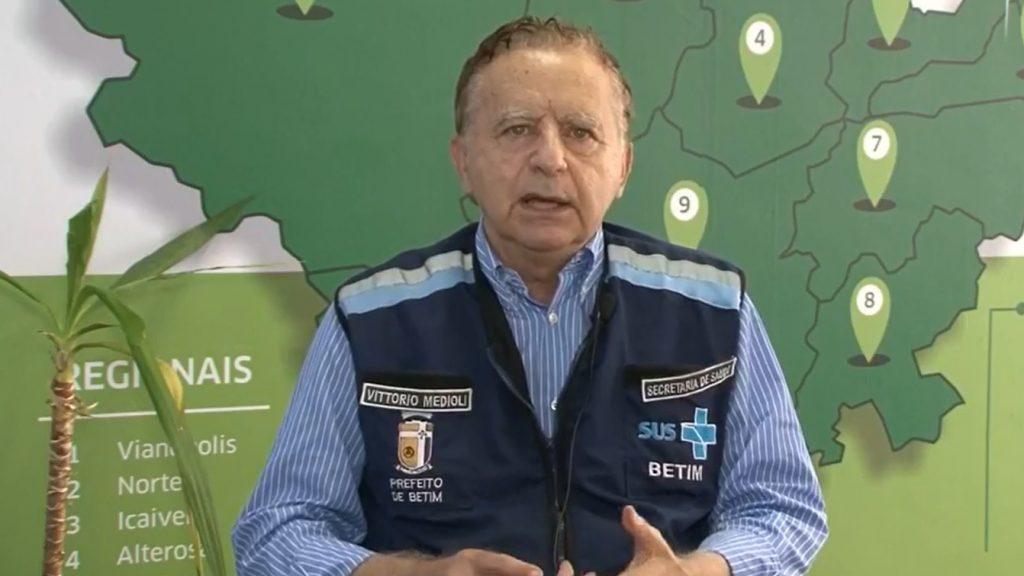 8.mar.2021 - Vittorio Medioli cobra Governo de Minas ampliação de leitos em Betim (Imagem Reprodução/Facebook)