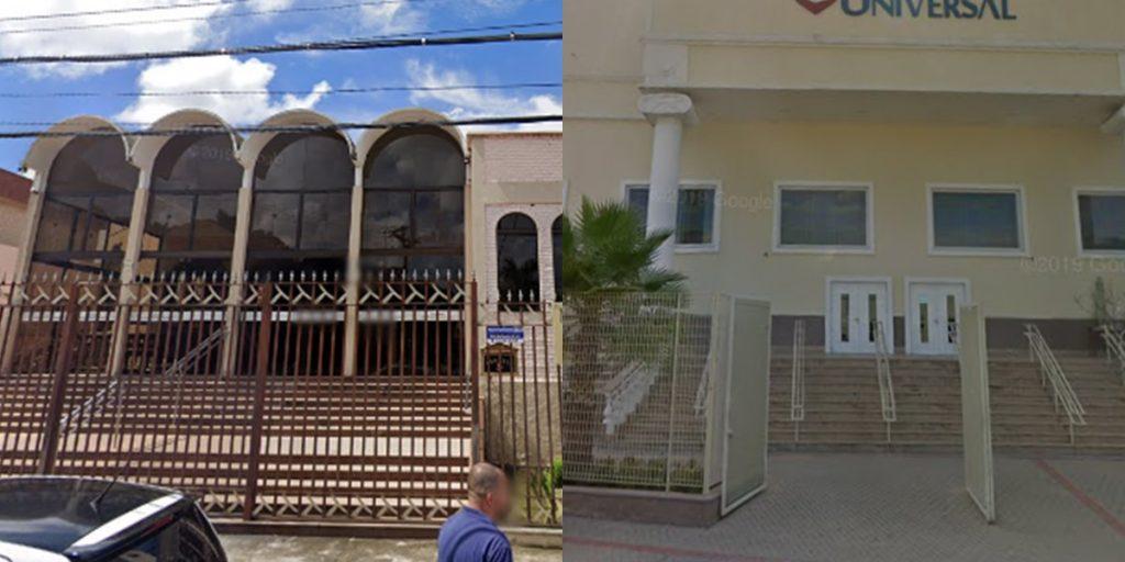 Arte com a fachada de duas igrejas em Betim