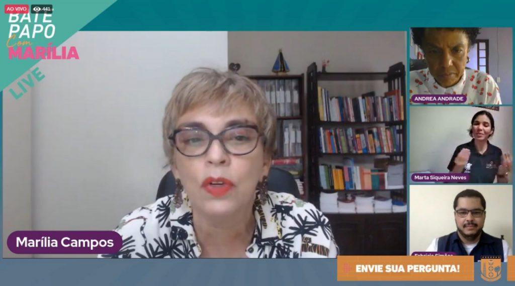 Prefeita de Contagem Marília Campos em transmissão pela internet (Imagem Reprodução/Redes Sociais)