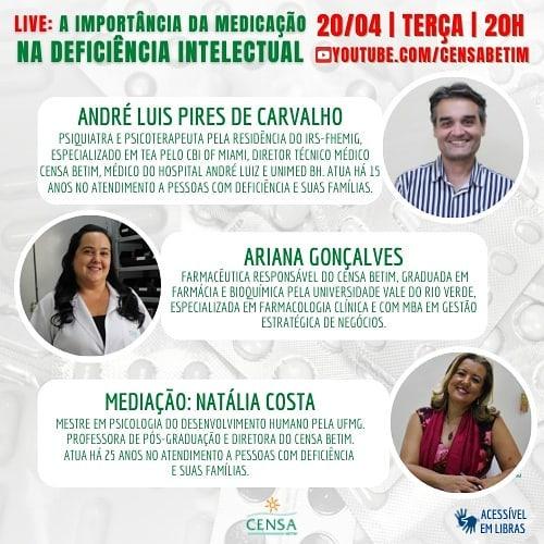 Banner de divulgação de live do Censa Betim
