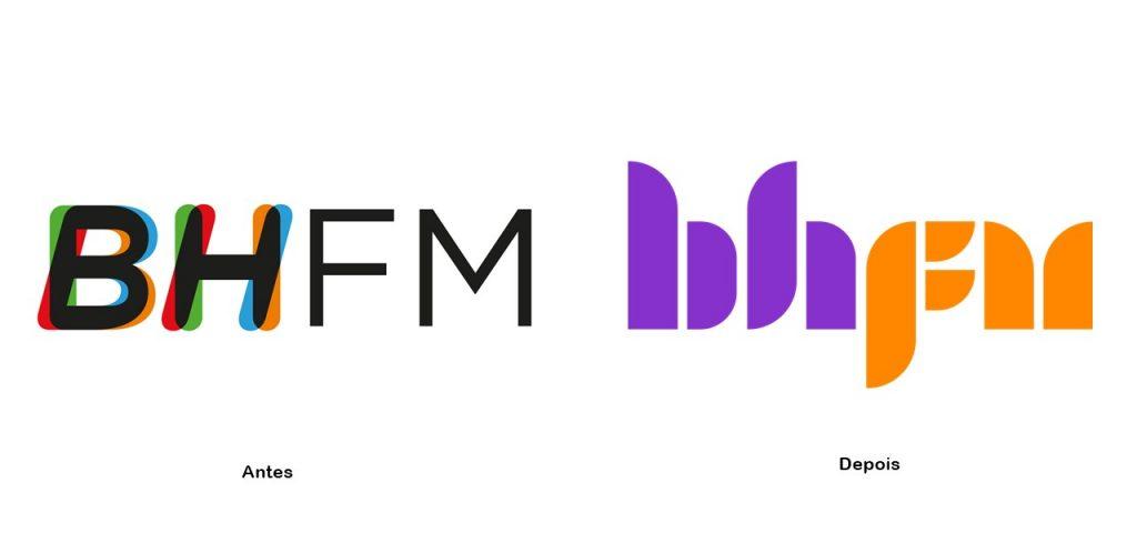 Antes e depois da logo da rádio BH FM
